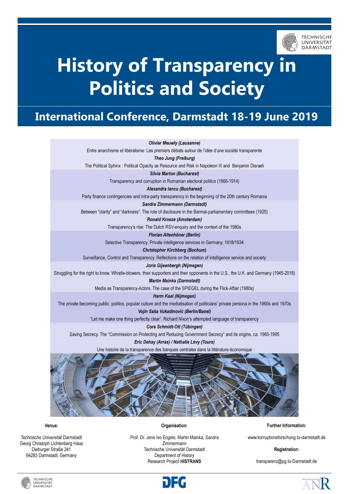 """""""History of Transparency in Politics and Society"""" Internationale Tagung in Darmstadt, 18.-19. Juni 2019"""
